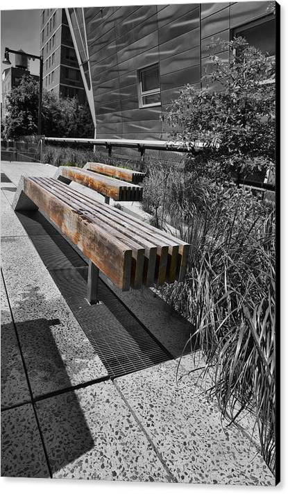 Evie Canvas Print featuring the photograph High Line Benches Black And White by Evie Carrier