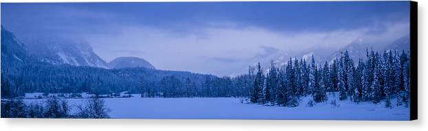 Cabinet Canvas Print featuring the photograph 140303a-43 The Bull River Valley In Winter by Albert Seger