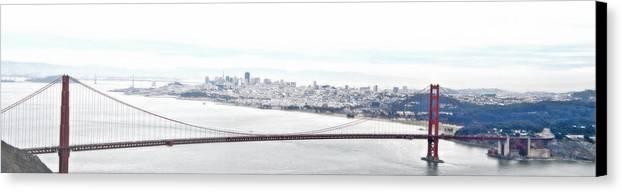 Sf Canvas Print featuring the photograph Golden Gate by  Michaelalonzo  Kominsky
