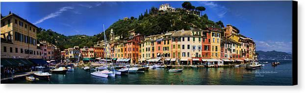 Port Canvas Print featuring the photograph Panorama Of Portofino Harbour Italian Riviera by David Smith