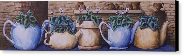 Canvas Print featuring the painting Teapots On Parade by Michael Beckett