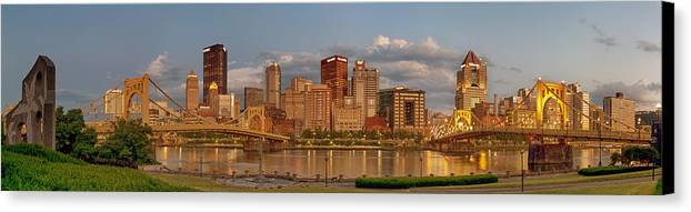 Pittbsurgh Canvas Print featuring the photograph Evening Panorama by Jennifer Grover
