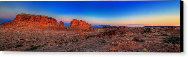 Goblin Valley Canvas Print featuring the photograph Mollys Castle Panorama by William Gillam