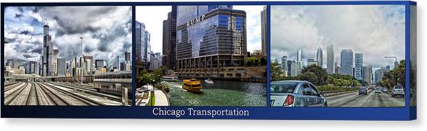 Chicago Canvas Print featuring the photograph Chicago Transportation Triptych 3 Panel Hdr 01 by Thomas Woolworth