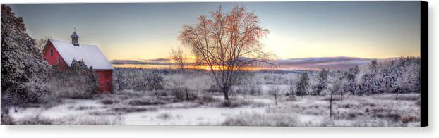 Winter Canvas Print featuring the photograph Winter Sunset by Don Powers