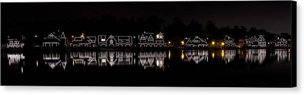 boathouse Row Canvas Print featuring the photograph Boathouse Row Panorama - Philadelphia by Brendan Reals