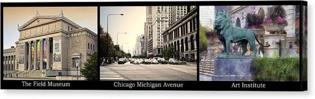 Chicago Canvas Print featuring the photograph Chicago Michigan Ave Field Museum Art Institute Triptych 3 Panel by Thomas Woolworth