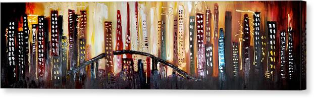 Canvas Print featuring the painting Cityscape by Lisa McLean Adams