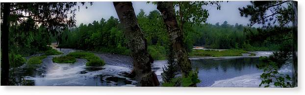 Tahquamenon Falls State Park Canvas Print featuring the photograph Viewing Tahquamenon Lower Falls Upper Peninsula Michigan Panorama 02 by Thomas Woolworth