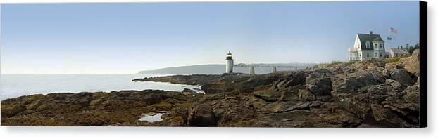 Marshall Point Lighthouse Canvas Print featuring the photograph Marshall Point Lighthouse - Panoramic by Mike McGlothlen