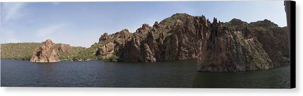 Saguaro Lake Canvas Print featuring the photograph Saguaro Lake by Two Bridges North