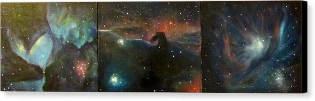 Space Canvas Print featuring the painting Nebula Triptych by Alizey Khan