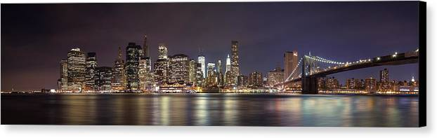 New York City Canvas Print featuring the photograph New York City - Manhattan Waterfront At Night by Thomas Richter