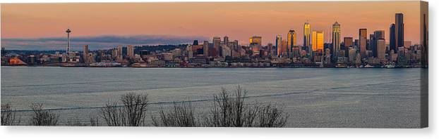 Seattle Canvas Print featuring the photograph Golden Seattle Skyline Sunset by Mike Reid