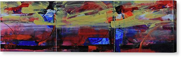 Abstract Painting Canvas Print featuring the painting Fiery Sunset Before The Storm by Walter Fahmy