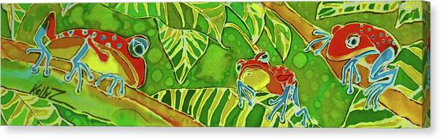 Frog Canvas Print featuring the painting Rainforest Buds by Kelly   ZumBerge