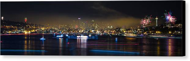 Seattle Canvas Print featuring the photograph Seattle Skyline Firework Panorama by Dmitry Grekov