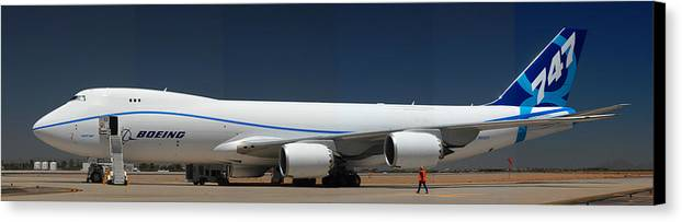 Airplane Canvas Print featuring the photograph Boeing 747-8 N50217 At Phoenix-mesa Gateway Airport by Brian Lockett