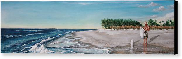 Beach Canvas Print featuring the painting Bean Point by Joan Garcia