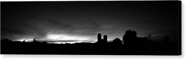 Farm Silhouette Sunset Silo Tree Sky Clouds Black White Sun Set Night Lancaster Pa Pennsylvania Canvas Print featuring the photograph Farm Silhouette II by William Haney