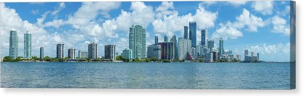 Photography Canvas Print featuring the photograph Skylines At The Waterfront, Miami by Panoramic Images