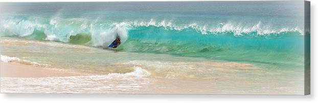 Boogie Board Canvas Print featuring the photograph Boogie Board Surfing by Athena Mckinzie