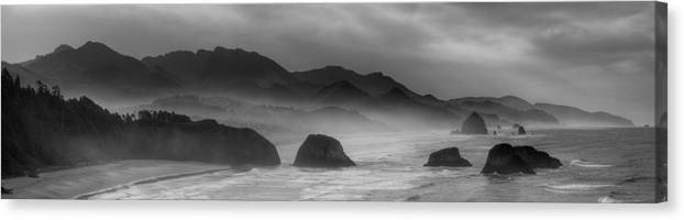 haystack Rock Canvas Print featuring the photograph Ecola State Park - Oregon State Coast by Daniel Hagerman