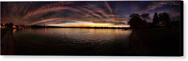 Sunset Canvas Print featuring the photograph Sunset By The Lake by Jaime Aguirre