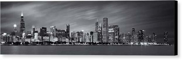 3scape Photos Canvas Print featuring the photograph Chicago Skyline At Night Black And White Panoramic by Adam Romanowicz