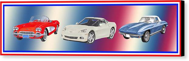 A Trio Of Watercolor Paintings For Fans Of America�s Favorite Sports Canvas Print featuring the painting Corvettes In Red White And True Blue by Jack Pumphrey