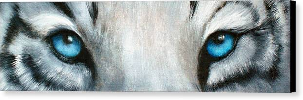 White Tiger Eyes Canvas Print featuring the painting Whos Watching Who...white Tiger by Darlene Green