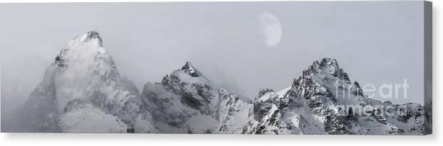The Grand Teton Canvas Print featuring the photograph Grand Tetons Moon by Wildlife Fine Art