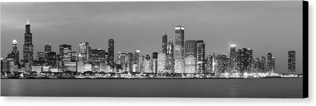 Chicago Canvas Print featuring the photograph 2010 Chicago Skyline Black And White by Donald Schwartz