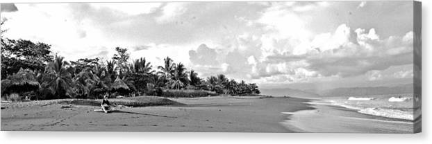 Seascape Canvas Print featuring the photograph Beach Of The Iguana Bw by Norman Johnson