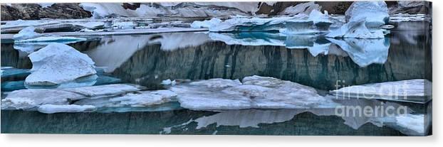 Gacier Iceberg Lake Canvas Print featuring the photograph Glacier Iceberg Panorama by Adam Jewell