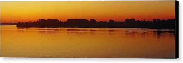 Detroit River Canvas Print featuring the photograph Pano Dawn Aug. 3 2013 by Daniel Thompson