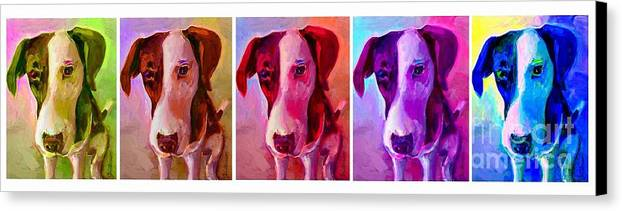 Dog Canvas Print featuring the painting Colored Dog Strip by Linda Vespasian