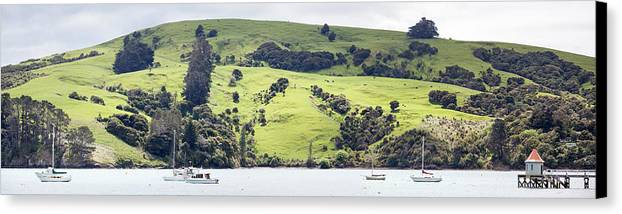Panoramic Canvas Print featuring the photograph French Bay Panorama by Ramunas Bruzas