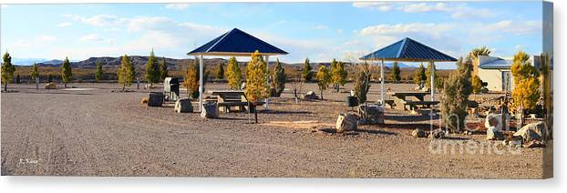 Roena King Canvas Print featuring the photograph Panorama Outdoor Community Area by Roena King
