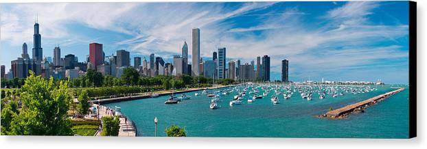 3scape Canvas Print featuring the photograph Chicago Skyline Daytime Panoramic by Adam Romanowicz