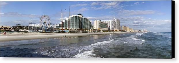 Coastline Canvas Print featuring the photograph Daytona Beach Panorama by Lynn Palmer