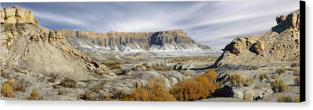 Desert Canvas Print featuring the photograph Utah Outback 43 Panoramic by Mike McGlothlen