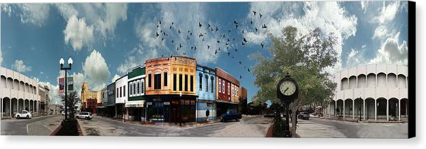 Bryan Canvas Print featuring the digital art Downtown Bryan Texas 360 Panorama by Nikki Marie Smith