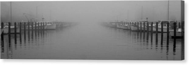 Fog Canvas Print featuring the photograph Foggy Day At The Marina by Doug Edmunds