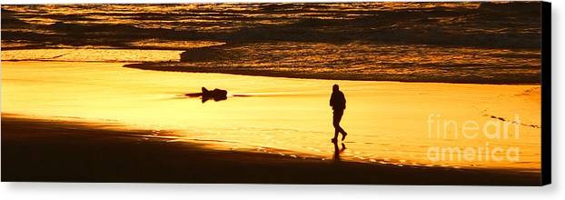Pacific Ocean Canvas Print featuring the photograph Jog At Sunset by Larry Keahey