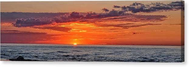 Sun Set Canvas Print featuring the photograph A Lake Sunset by Brian Mollenkopf