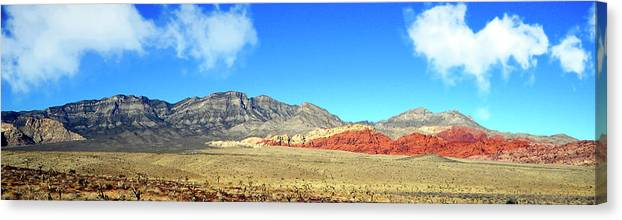 Frank Wilson Canvas Print featuring the photograph Red Rocks Nevada Panorama by Frank Wilson