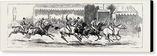 Prince Canvas Print featuring the drawing Prince Winning The Half-mile Pony Race For The Prince by Litz Collection
