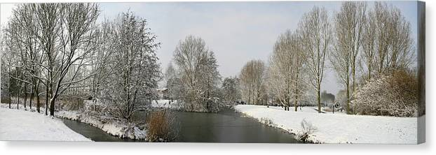 Panorama Canvas Print featuring the photograph White Vision Around Canals by Erin Larcher