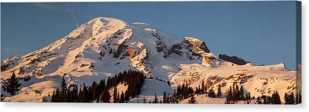 Rainier Canvas Print featuring the photograph Mount Rainier Alpenglow by Mike Reid